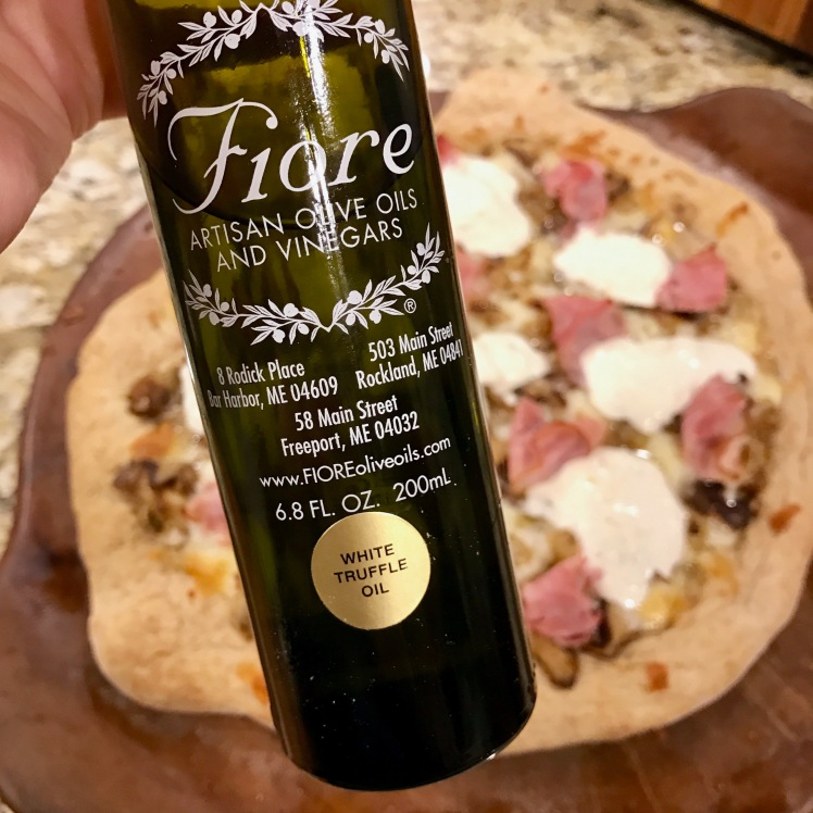 Mushroom Truffle burrata pizza with ham
