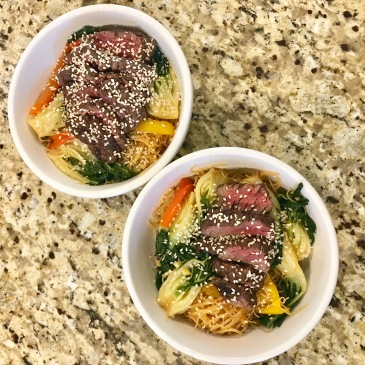 Baby Bok Choy & Rice Noodle Bowls (with Teriyaki Steak Tips)