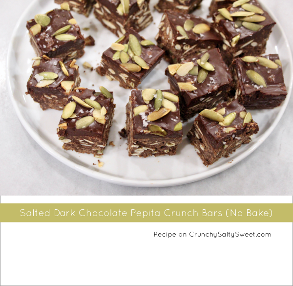 Salted Dark Chocolate Pepita Crunch Bars (No Bake)